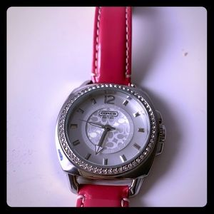 Coach. Hot pink & silver watch